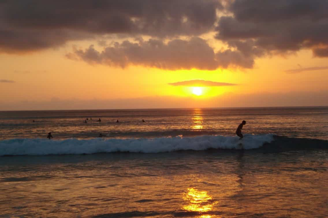 Pantai Dreamland Bali, Sunset